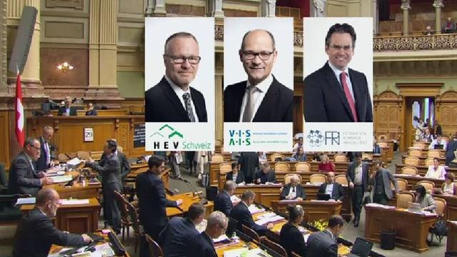 Drei Porträts von Politikern.