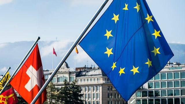 Bandiera svizra e quella da l'UE.