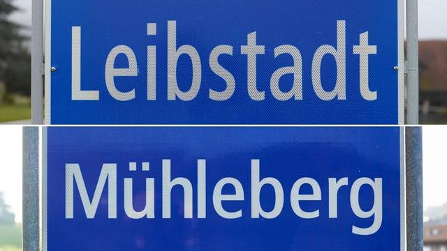 Ortsschilder von Leibstadt und Mühleberg.