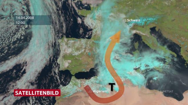 Satellitenbild von Europa. Man sieht ein Tief bei Nordafrika, welches Sahara-Staub mit der Höhenströung über die Balearen bis zu den Alpen transportiert.
