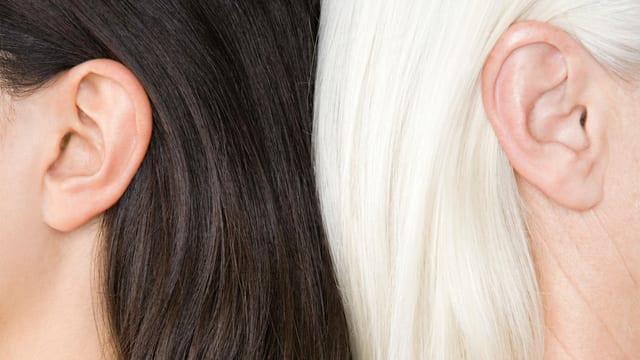 Die Köpfe von zwei Frauen. Ein ist dunkelhaarig, die andere grau.
