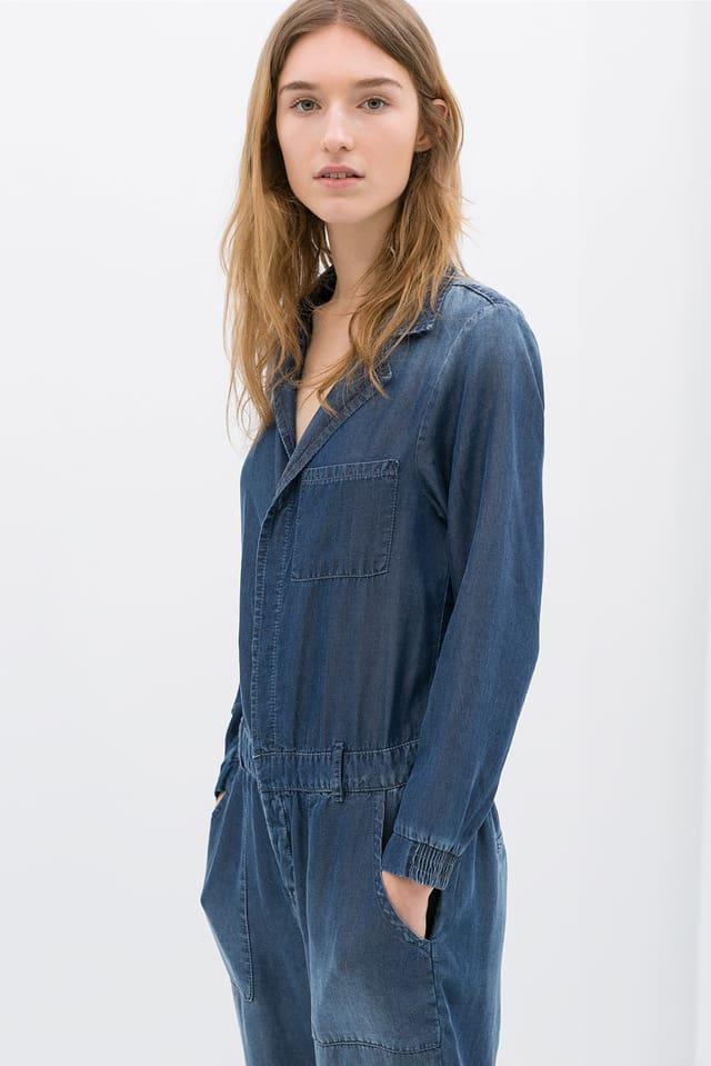 Manuela Frey in einem Jeans Overall