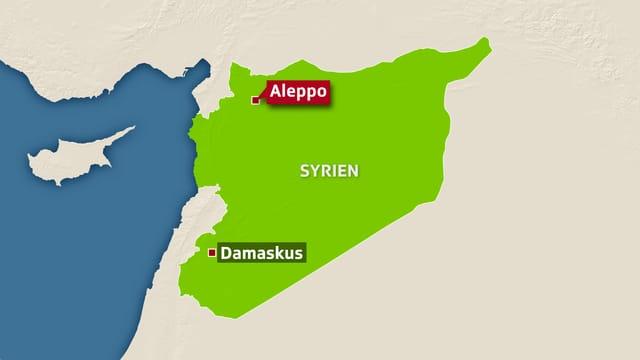 Karte, auf der die Städte Damaskus und Aleppo eingezeichnet sind.