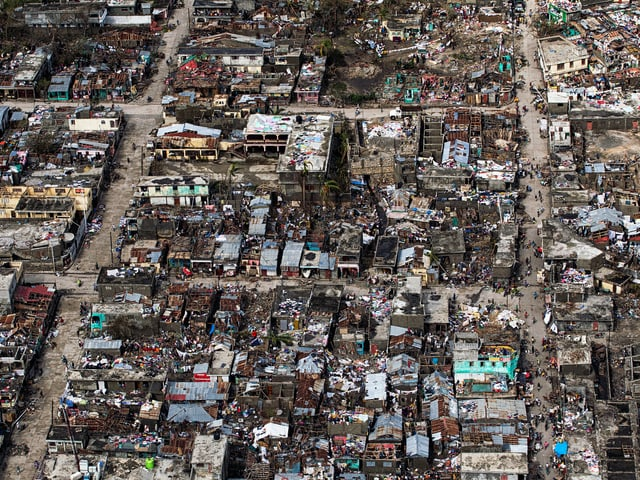Luftaufnahmen aus dem Westen Haitis zeigen die Zerstörung, die «Matthew» auf der Karibikinsel angerichtet hat.