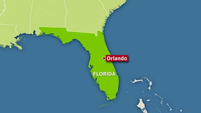 Ina carta geografica che mussa il stadi federativ da Florida. Marcà è il lieu Orlando.