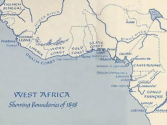 Eine Karte von Westafrika mit den Grenzen von 1898.