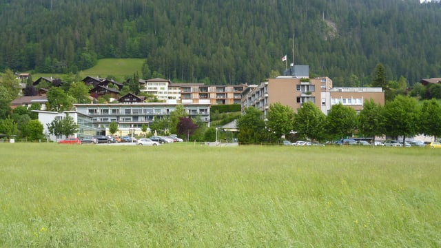 Grüne Wiese mit Spital.