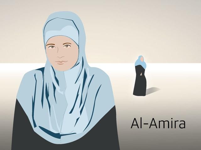 Illustrierte Frau mit Al-Amira.