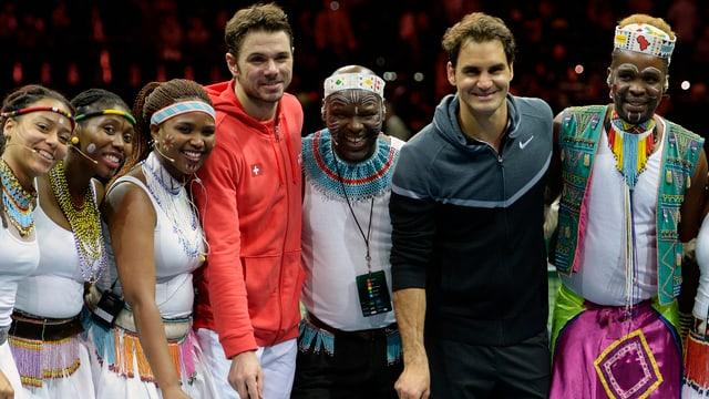Federer und Wawrinka 2014 anlässlich dem Match for Africa.