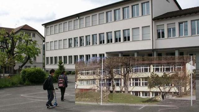 Die Schulhäuser von Teufenthal und Unterkulm in einer Montage