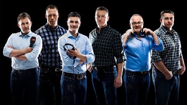 Sascha Ruefer, Matthias Sempach, Stefan Hofmänner, Adrian Käser, Marcel Melcher und Jörg Abderhalden auf einem Gruppenfoto.