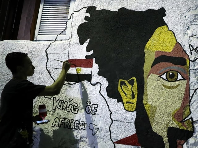 Eine Wandmalerei von Mo Salah.