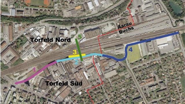 Karte mit eingezeichneten Strassenbauprojekten