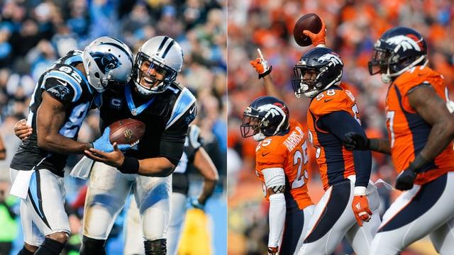 Die Panthers-Offensive und die Broncos-Defensive.