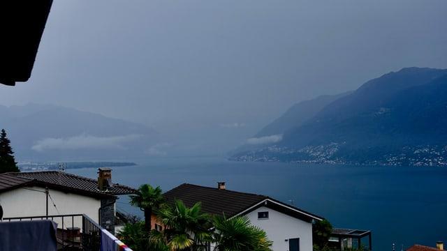 Blick von Brissago über den trüben Lago Maggiore Richtung Bellinzona.