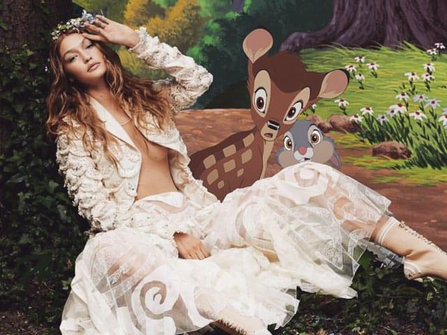 Gigi Hadid im künstlichen Wald