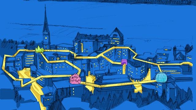 Visualisierung eines Rundgangs über dem Dorf, von Dach zu Dach