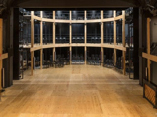 Der Globe im Luzerner Theater: Runde Holzbühne mit Balkonen