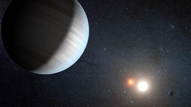 Ein unbekannter Planet im Vordergrund, im Hintergrund ein Stern.