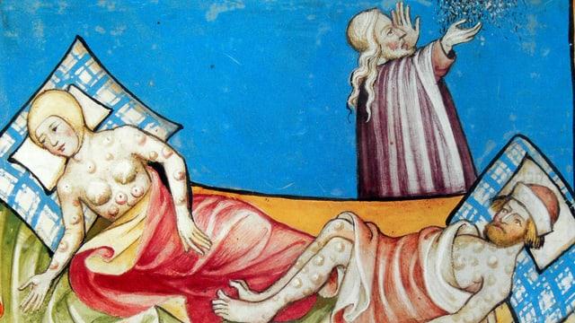 Zwei Menschen in einem Bett. Sie haben Pestbeulen. Nebenan steht ein Geistlicher. Er scheint zu beten.