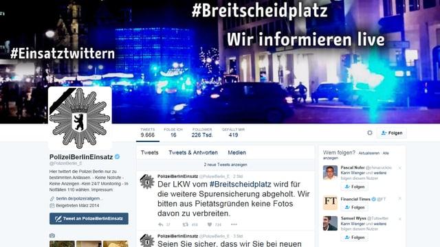 Screenshot der Twitterseite der Berliner Polizei