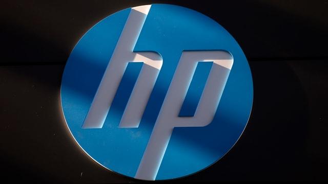 Das Logo von HP auf dunklem Hintergrund.