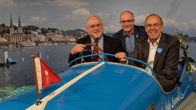 Gemeinsam im Boot: Ruedi Lustenberger, Nationalratspräsident, Nicolo Paganini, OLMADirektor, und Werner Fluder, OK-Chef Gastkanton Luzern (v.l.n.r.)