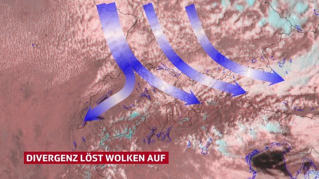 Schweizerkarte mit Wolken. Blaue Pfeile sind eingezeichnet. Sie gehen auseineander, dort, wo die Wolken sich aufgelöst haben. Das ist die Differgenz, die Wolken auflöst.