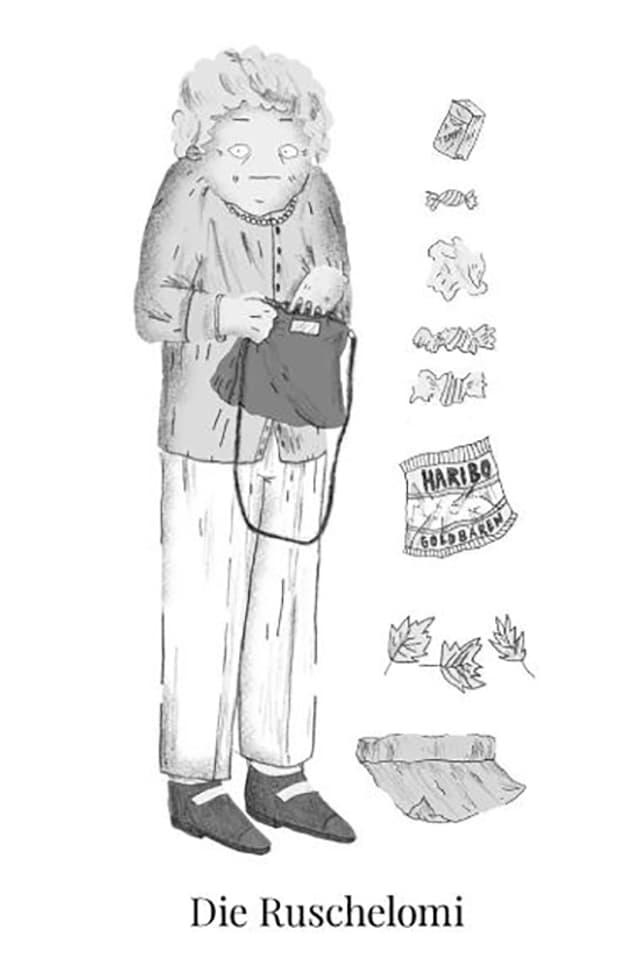 Zeichnung einer älteren Frau, die von Bonbonpapieren umgeben ist.