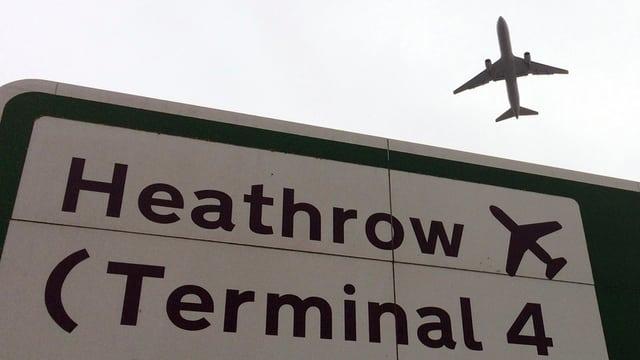 Purtret d'ina tabla che mussa il num Heathrow.