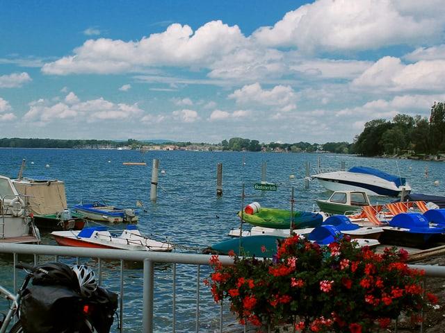 Motorboote ankern an einem sonnigen Tag im Hafen von Nonnenhorn.