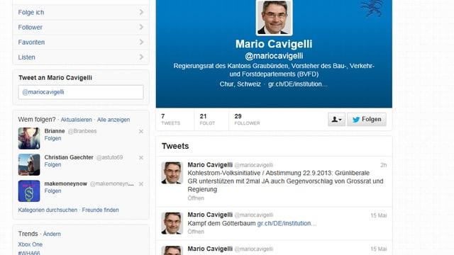 Twitter-Einträge von Mario Cavigelli