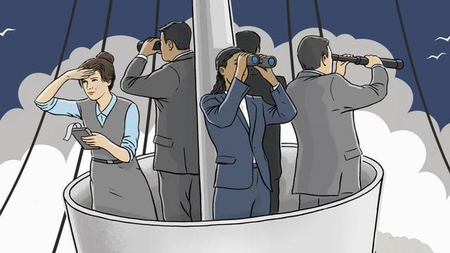 Mänenr und Frauen stehen im Korb eines Bootmasts und schauen mit Fernrohren in die Ferne.
