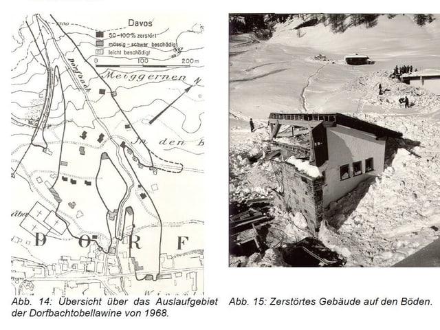 Haus, zerstört von Lawine und Karte der Lawine