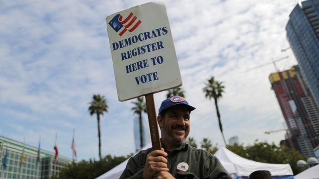 «Register to Vote»-Schild eines Demokraten