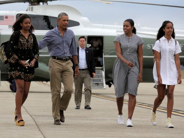 Malia, Barack, Michelle und Sasha Obama.
