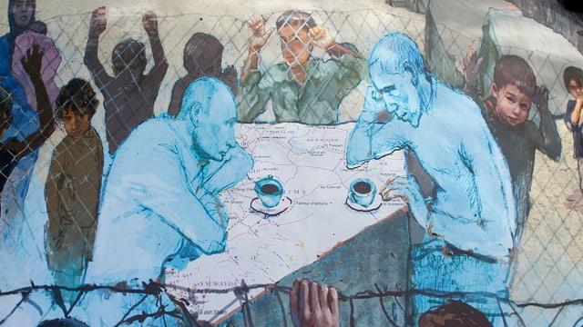 Putin und Obama sitzen am Kaffeetisch.