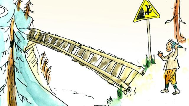 Schellen-Ursli steht vor einer gefährlichen Brücke.