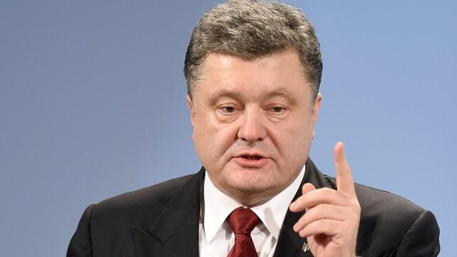 Der ukrainische Präsident Poroschenko während seiner Rede in München.