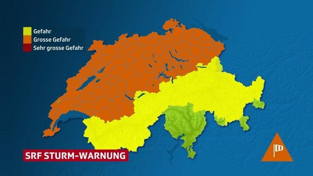 Karte der Schweiz mit SRF-Sturm-Warnung.
