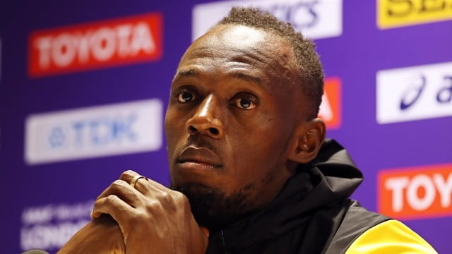 Usain Bolt bei einer Pressekonferenz.