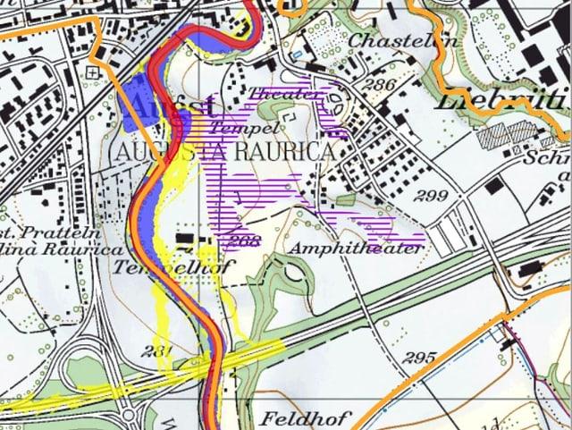 Naturgefahrenkarte Baselland, Ausschnitt Augst