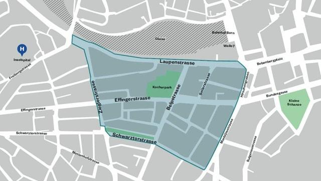 Ein Plan des Gebiets, dass in der Stadt Bern 2019 für einen Tag autofrei war.