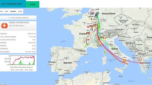 Auf einer Europakarte, sind die Flugwege der Ballone sowie die Flughöhe des Schweizer Siegers eingzeichnetet