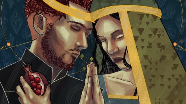 Ein Mann und eine Frau halten die Stirne und Hände aneinander