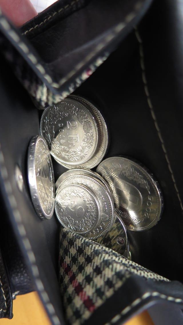 Geldbeutel mit Kleingeld.