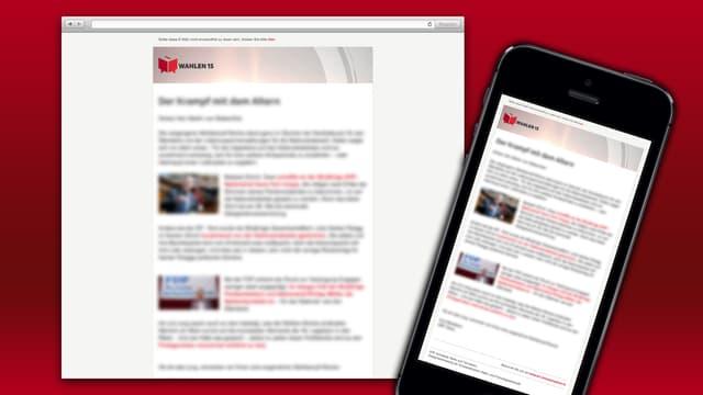 Newsletter auf Browser und Mobiltelefon