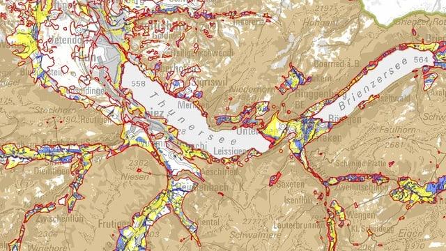 Ausschnitt aus der Gefahrenkarte des Kantons Bern.