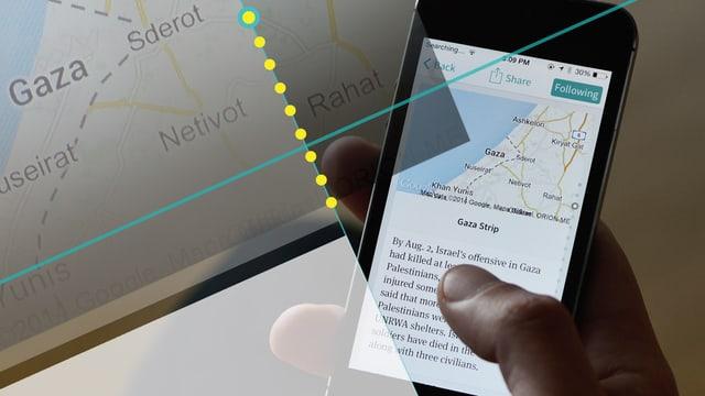 Auf einem Smartphone-Bildschirm ist die App «Circa» zu sehen. In einer Informationskarte ist eine Landkarte von Gaza zu sehen, darunter Informationen zu einem Anschlag.