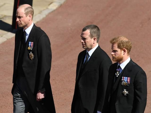 William und Harry während des Trauerzugs.